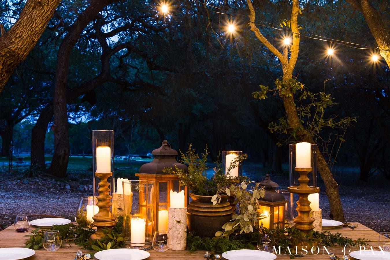 elegant al fresco dining by candlelight | Maison de Pax