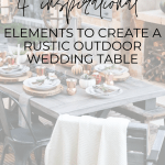 Create a rustic outdoor wedding table with candles, florals, string lights, and greenery - Maison de Pax