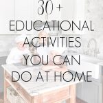 kids cooking in kitchen with overlay: 30+ educational activities you can do at home | Maison de Pax