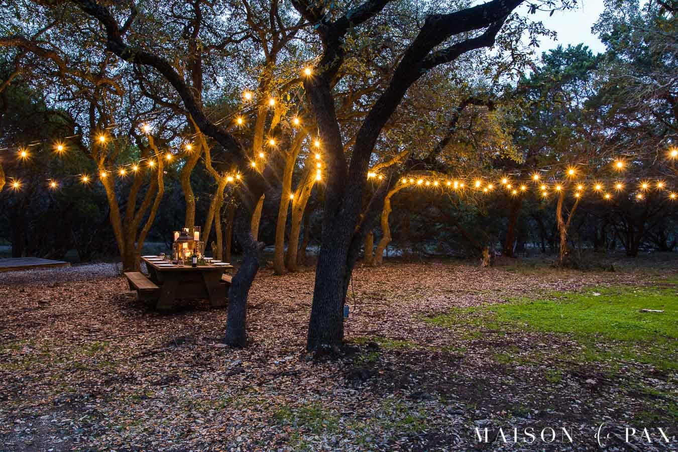 picnic table with globe lights strung through the trees | Maison de Pax