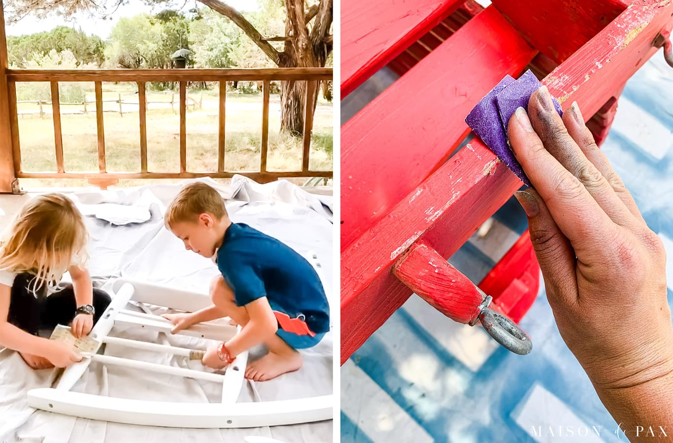 sand to prep outdoor furniture before spray painting | Maison de Pax