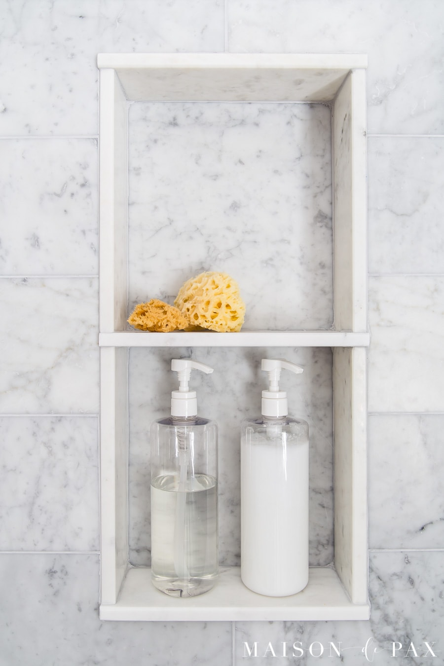 honed carrara marble shower shelf inset | Maison de Pax