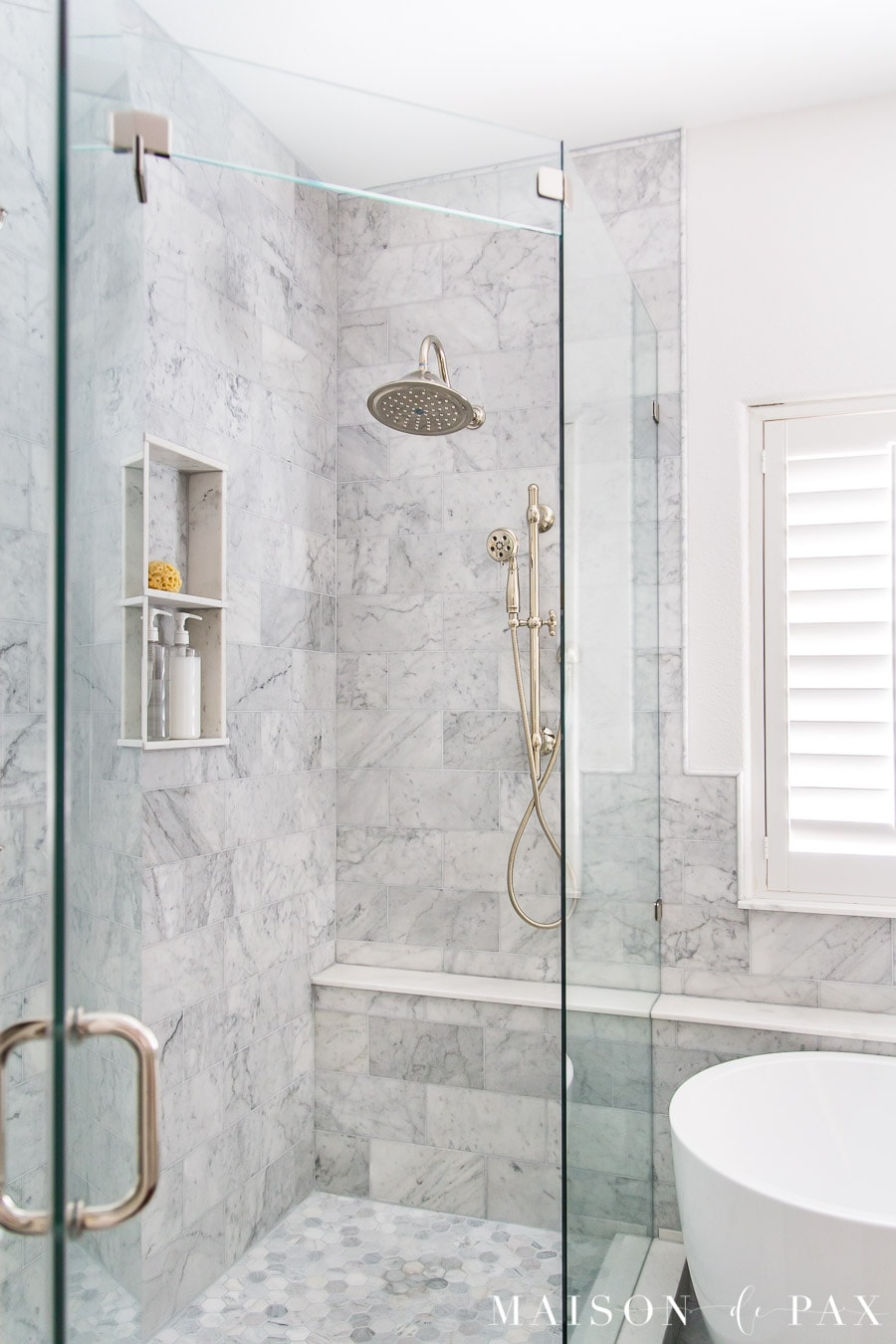 marble shower with polished nickel shower system | Maison de Pax