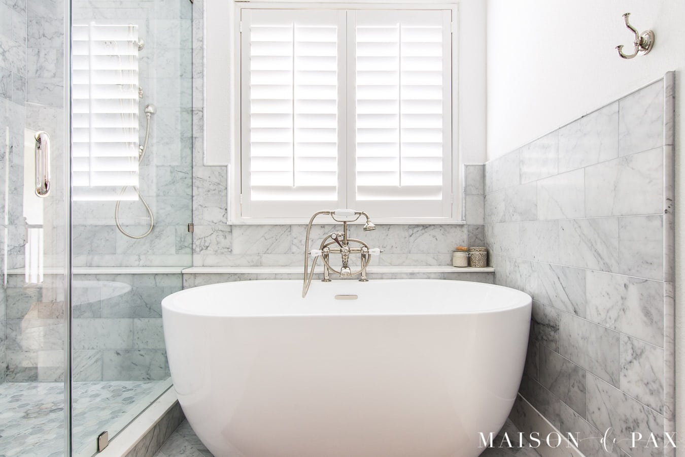 freestanding tub with Carrara marble tile surround | Maison de Pax