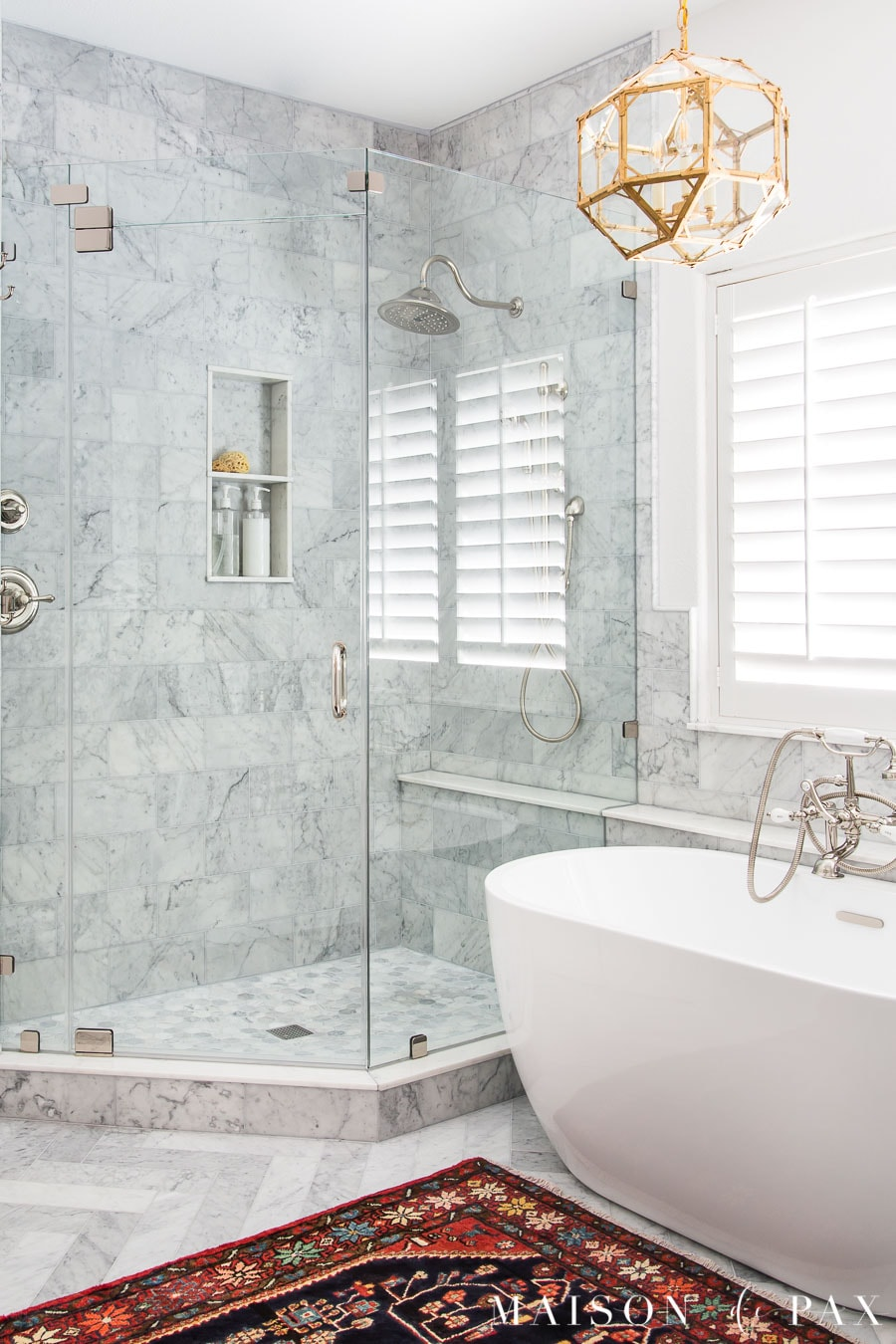 carrara marble tile with platinum grout