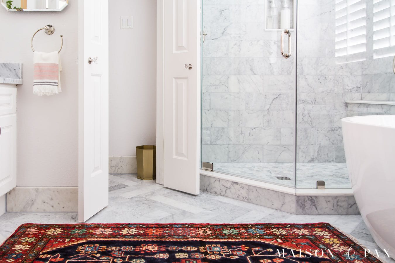 marble floors and marble baseboards in master bath | Maison de Pax