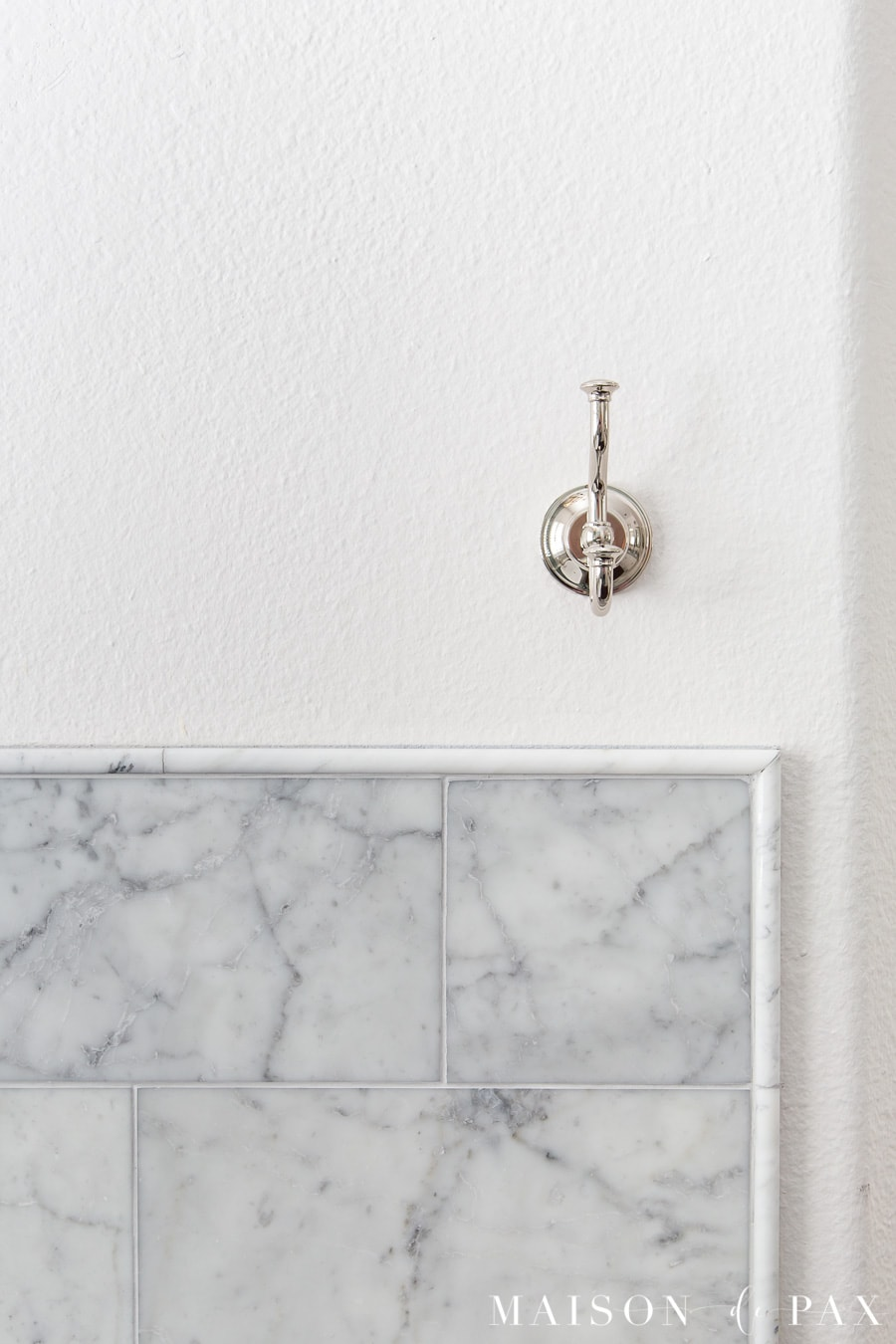 polished nickel towel hook with honed carrara marble and pencil edge | Maison de Pax