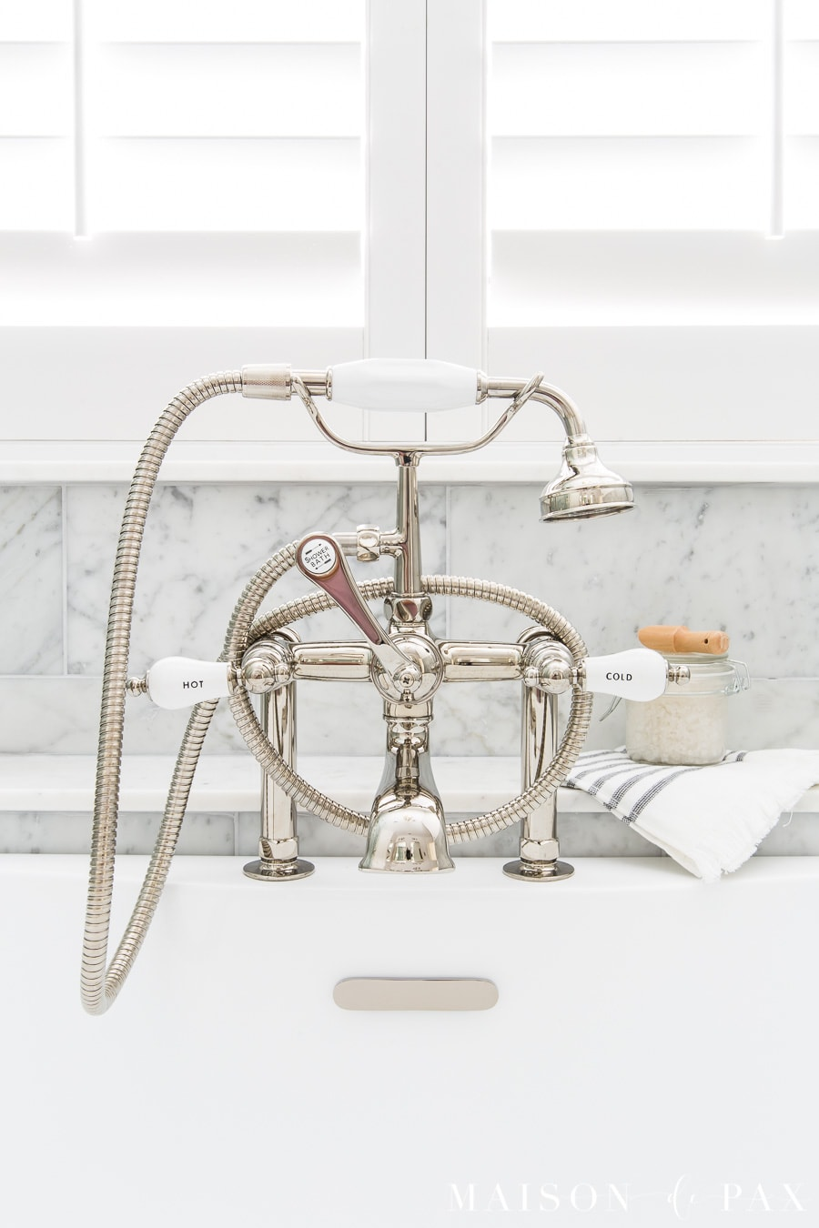 polished nickel classic tub deck mount faucet with handheld shower | Maison de Pax
