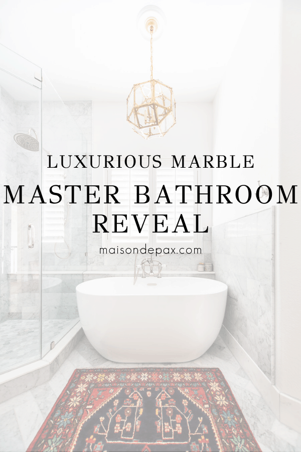 bathroom with freestanding tub and text overlay: luxurious marble master bathroom reveal | Maison de Pax