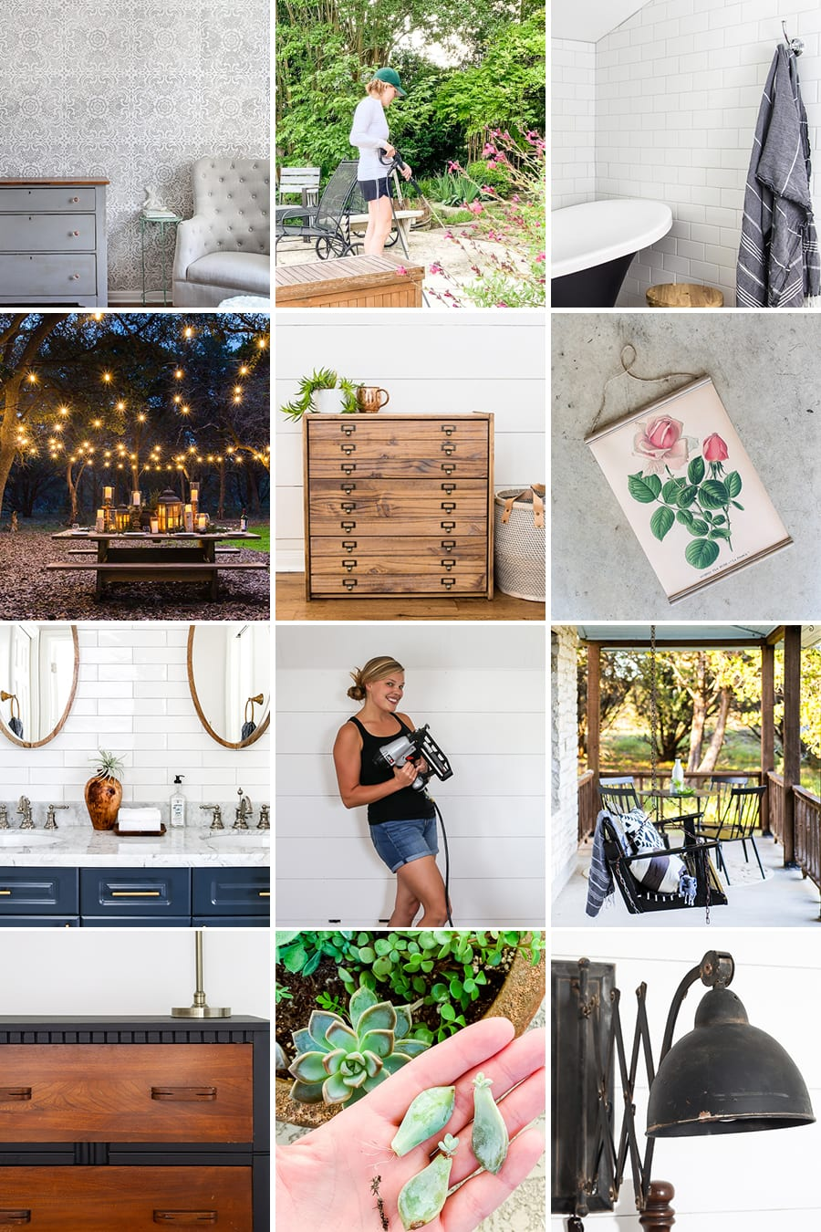 collage of modern farmhouse DIY projects | Maison de Pax