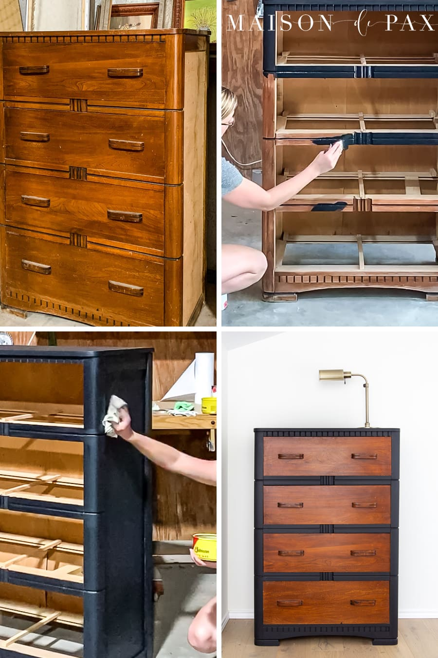process pictures of someone chalk painting a dresser
