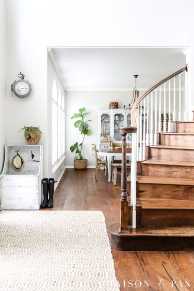 entry way with stairs painted SW Agreeable Gray | Maison de Pax