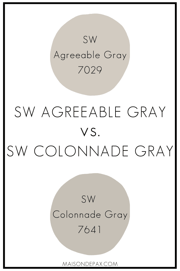 SW Agreeable Gray v SW Colonnade Gray | Maison de Pax