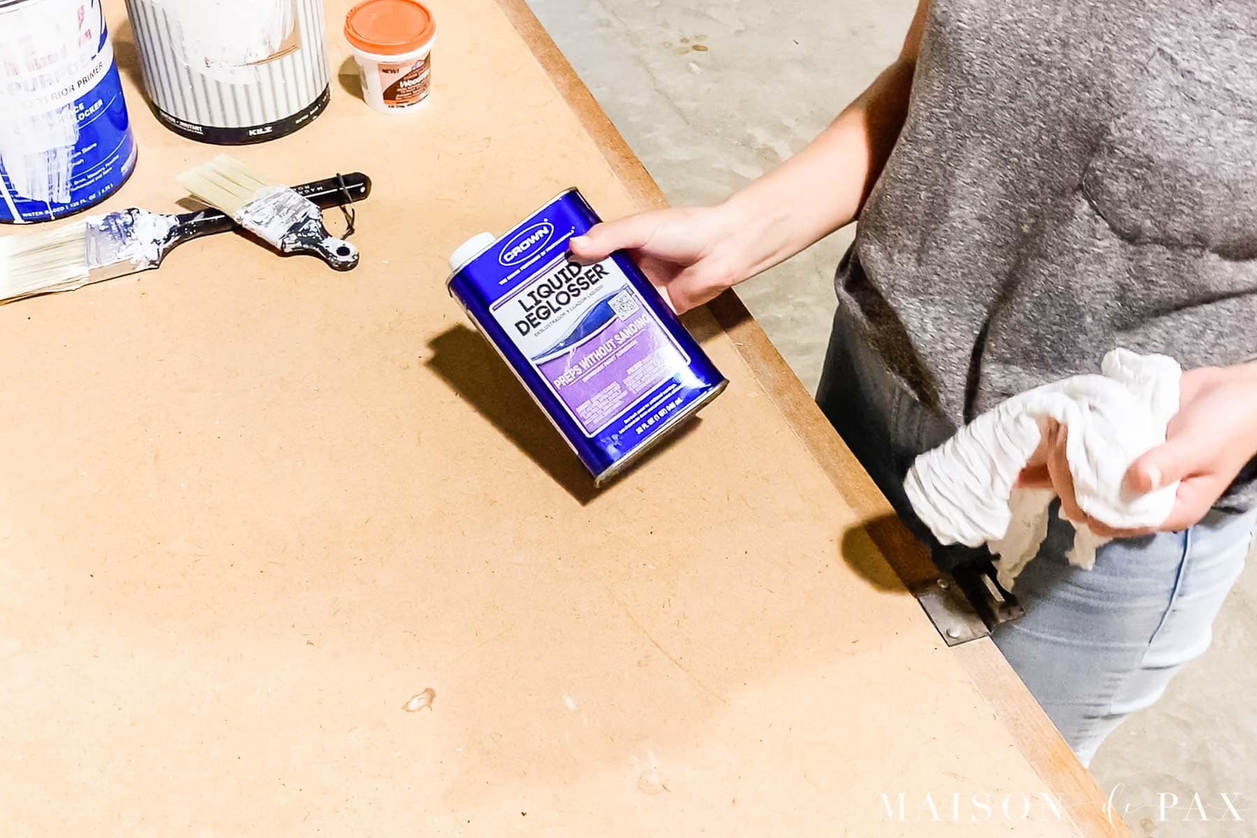 liquid deglosser to prep wood paneling before painting | Maison de Pax