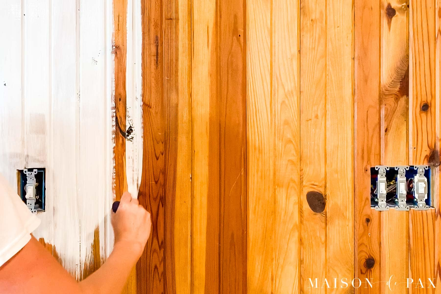 how to paint wood paneling with grooves | Maison de Pax