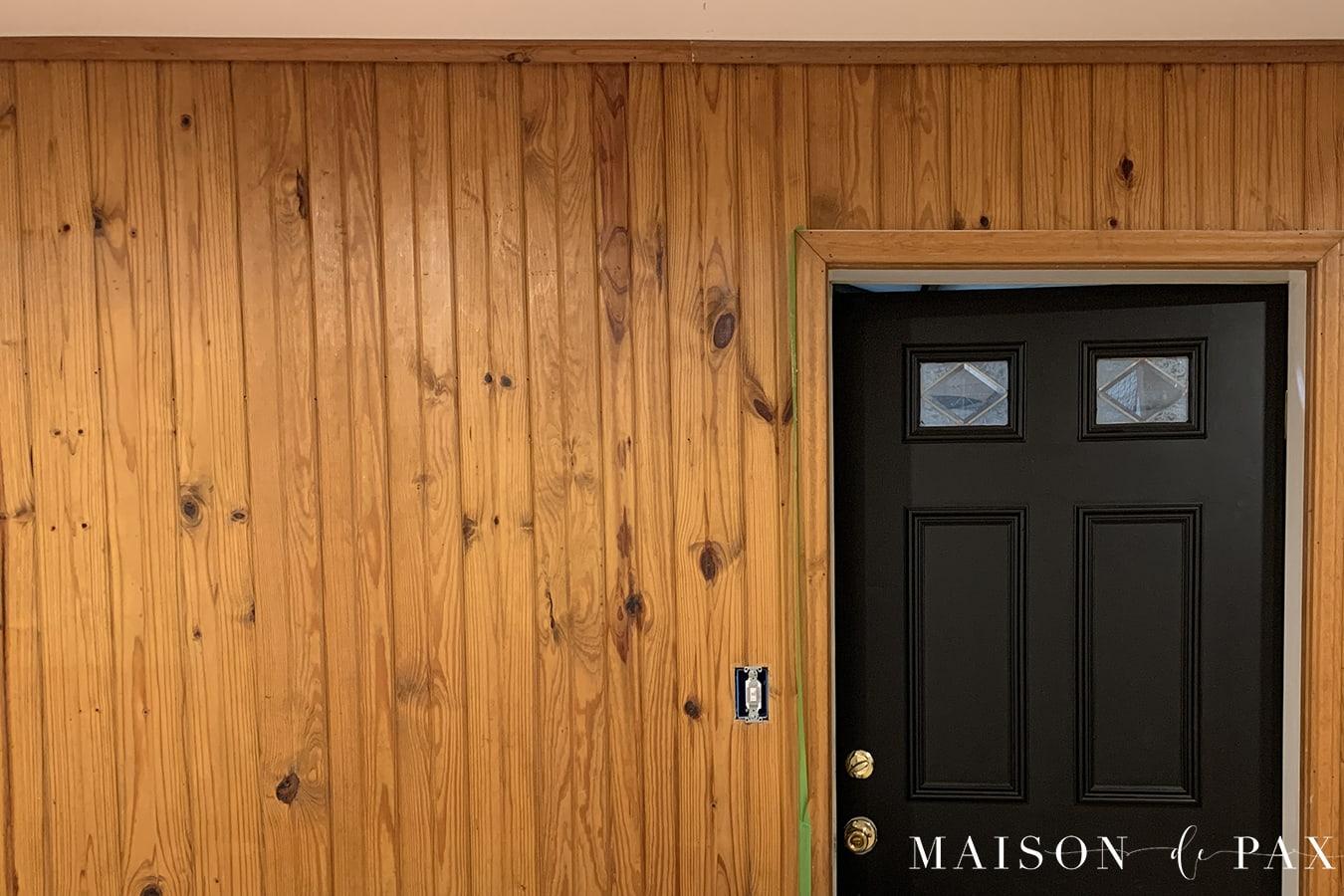 orange pine paneling before paint | Maison de Pax