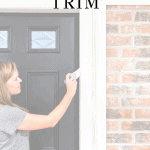 woman painting trim with text overlay: how to paint wood trim | Maison de Pax