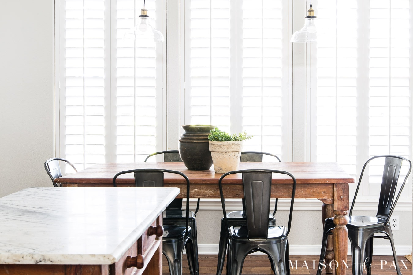 farmhouse kitchen table with black metal chairs | Maison de Pax