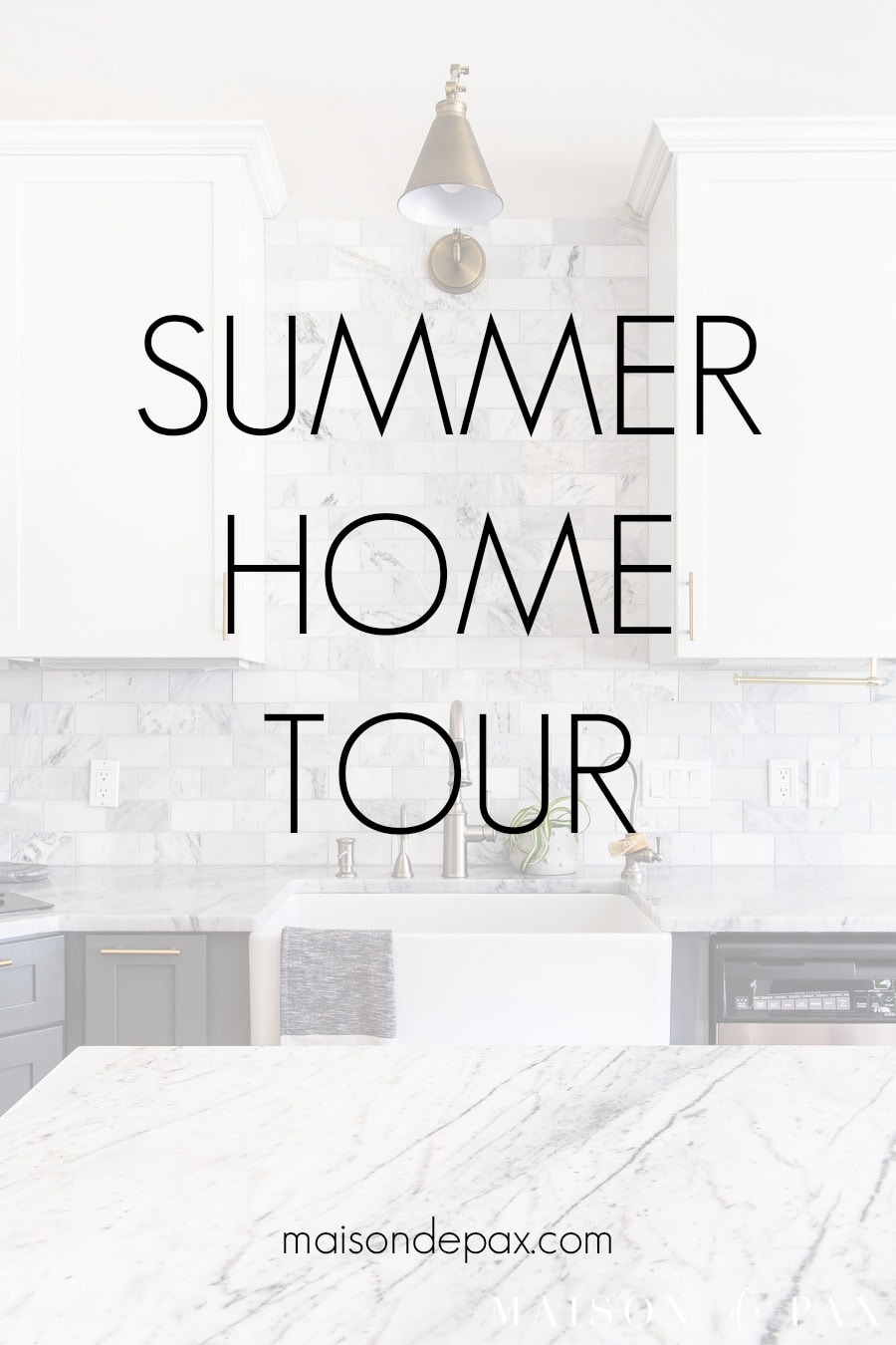 marble kitchen image with overlay: summer home tour maisondepax.com