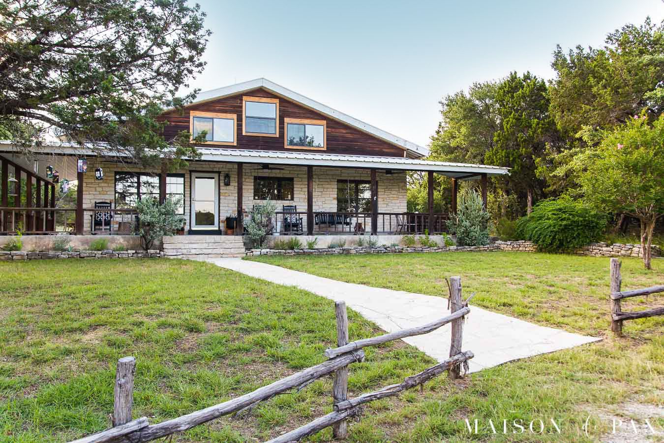 farmhouse porch with cedar railing and porch fans | Maison de Pax