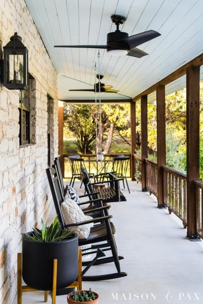front porch with haint blue ceiling, outdoor fans, and rocking chairs | maison de pax