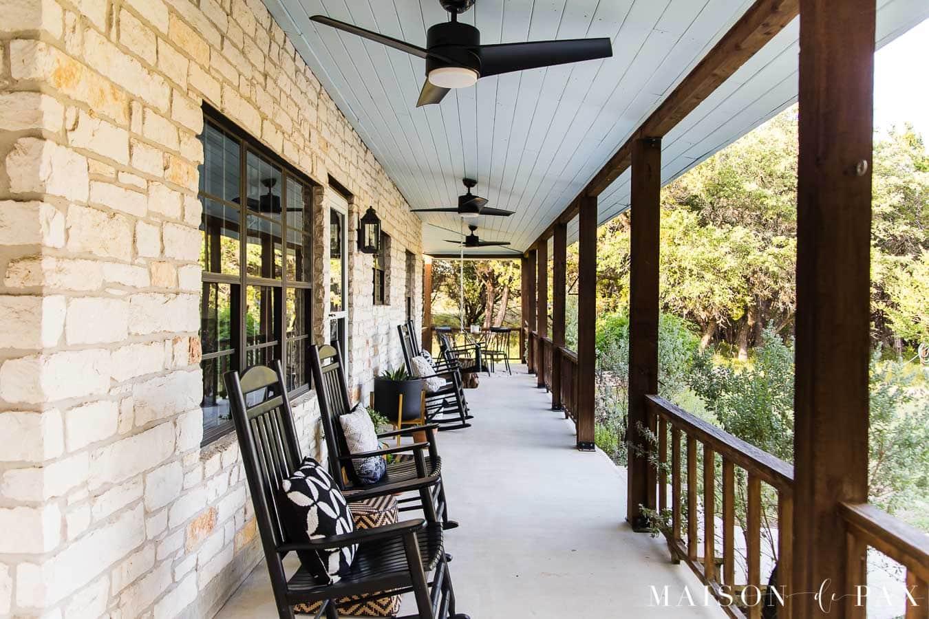 austin stone house with wrap around front porch | Maison de Pax