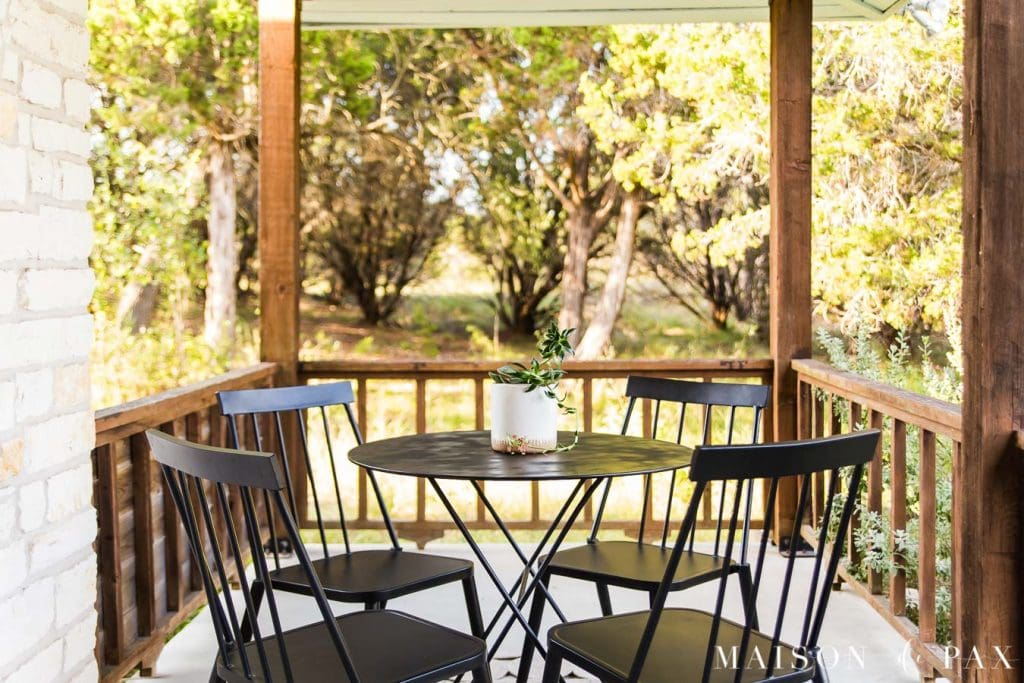 small outdoor dining set on porch