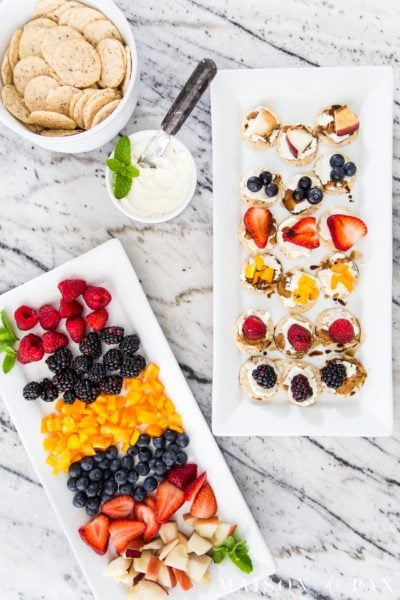 cheese and crackers appetizer spread with fresh fruit | Maison de Pax