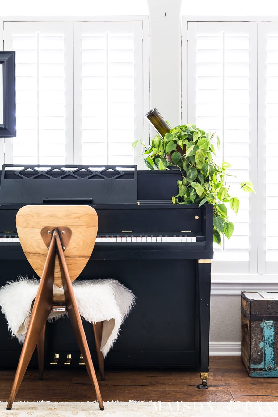 philodendron on black piano | Maison de Pax