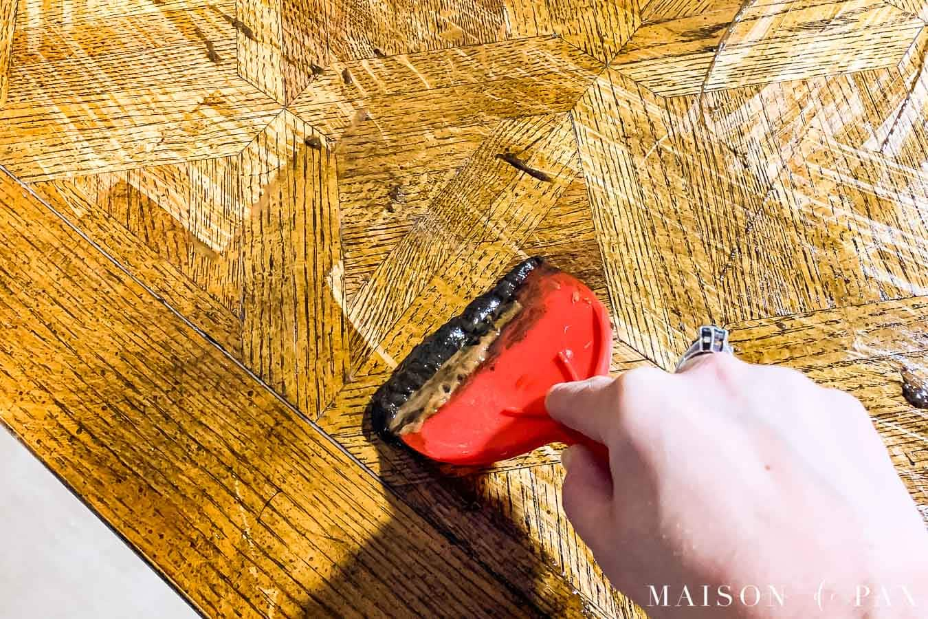 using citrus stripper to remove old varnish and wood stain | Maison de Pax
