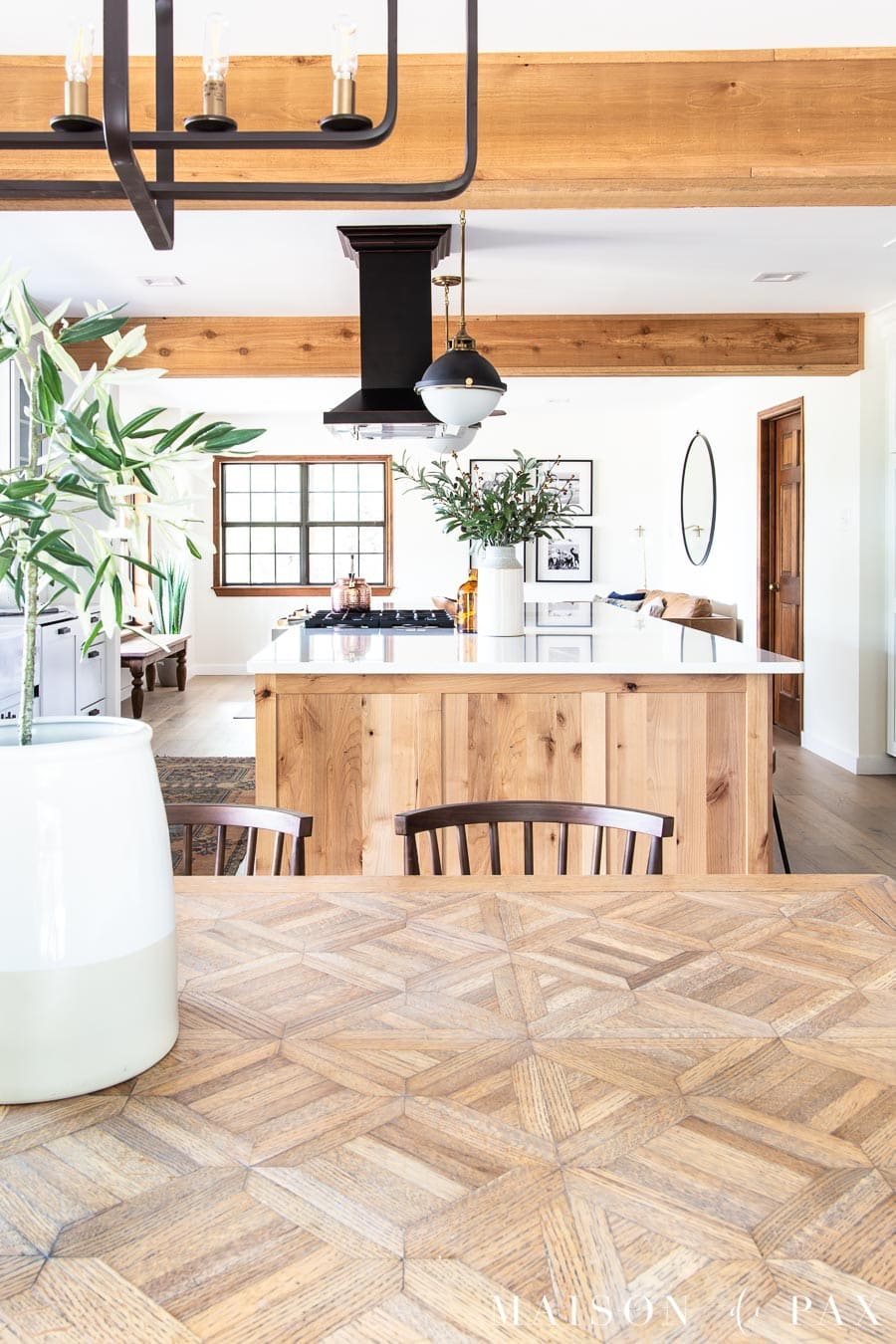 natural wood table beautifully styled in open kitchen | Maison de Pax