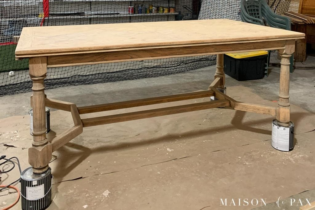 raw wood dining table ready for staining | Maison de Pax