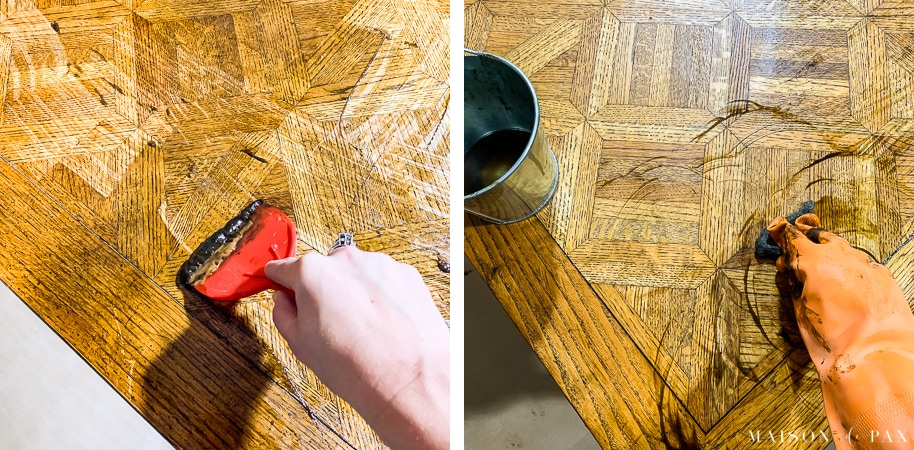 citrus and chemical strippers removing stain from wood table | Maison de Pax