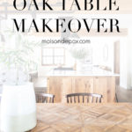 beautiful natural wood table with overlay: oak table makeover | Maison de Pax