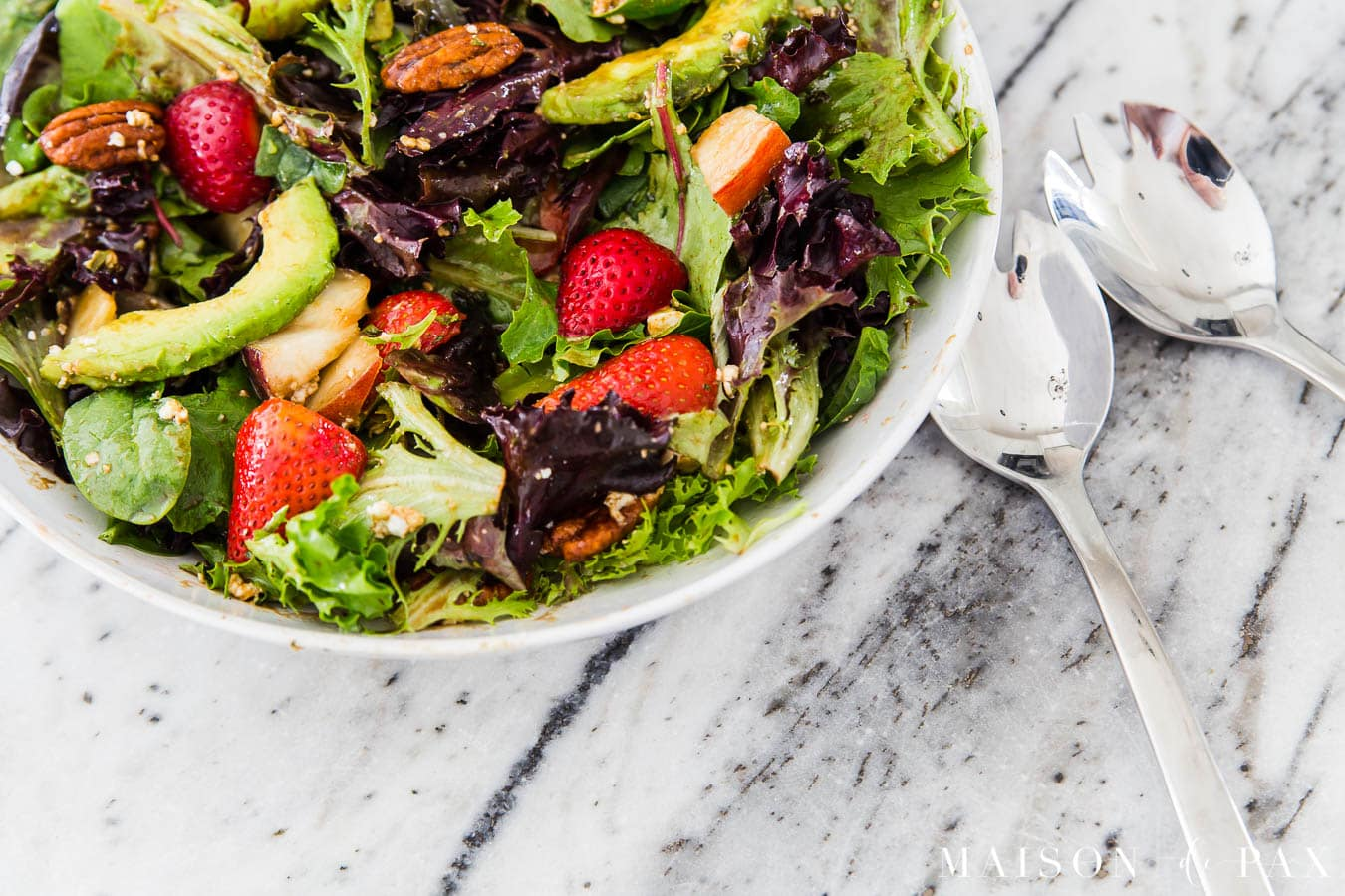 mixed greens salad with avocado, pecans, feta, and more | Maison de Pax