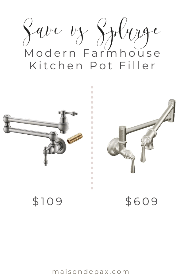 Pot filler styles and options above a stove- Maison de Pax