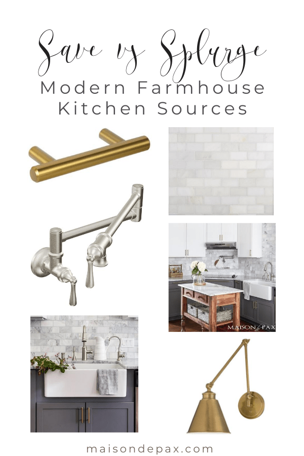 save vs splurge: modern farmhouse kitchen sources | Maison de Pax