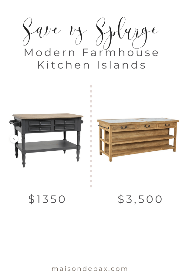 save vs splurge: modern farmhouse kitchen islands | Maison de Pax