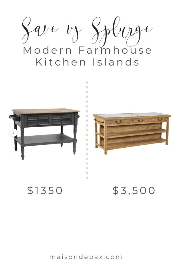 save vs splurge: modern farmhouse kitchen islands | Maison de Pax