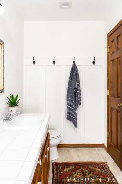 bathroom with board and batten wall | Maison de Pax