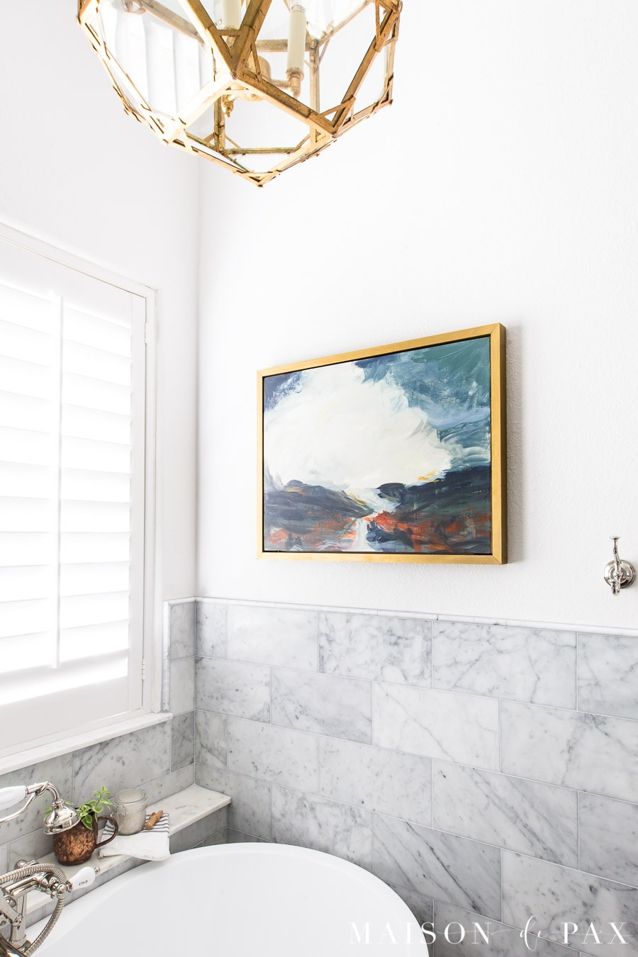 framed art canvas above tub | Maison de Pax