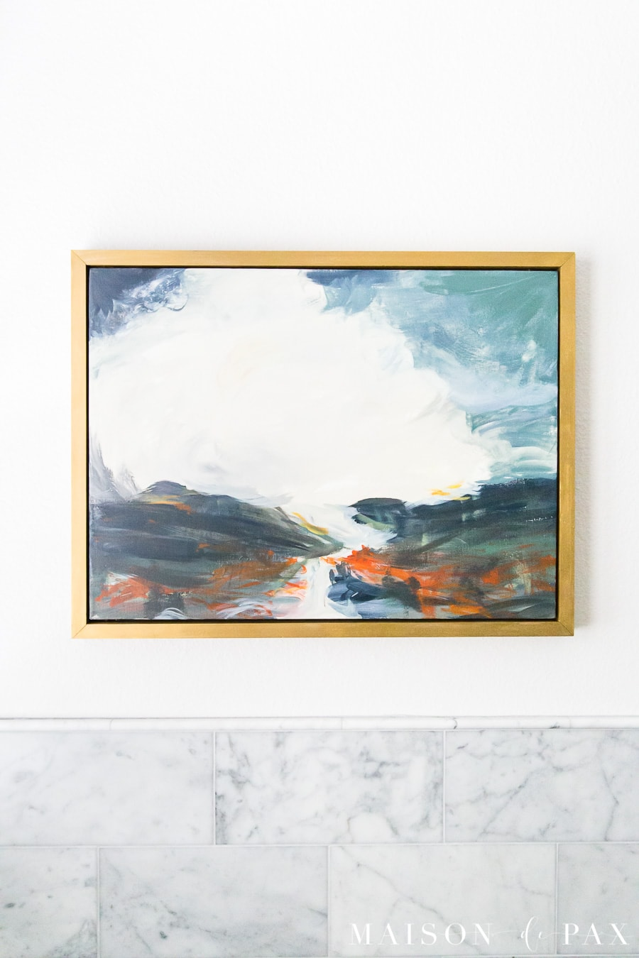 abstract landscape art in blues and greens and reds with gold frame | Maison de Pax
