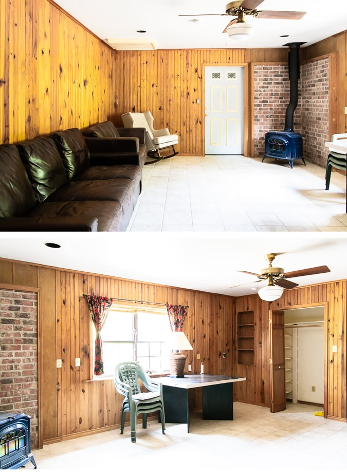 dated room with orange pine paneling and tile floors | Maison de Pax