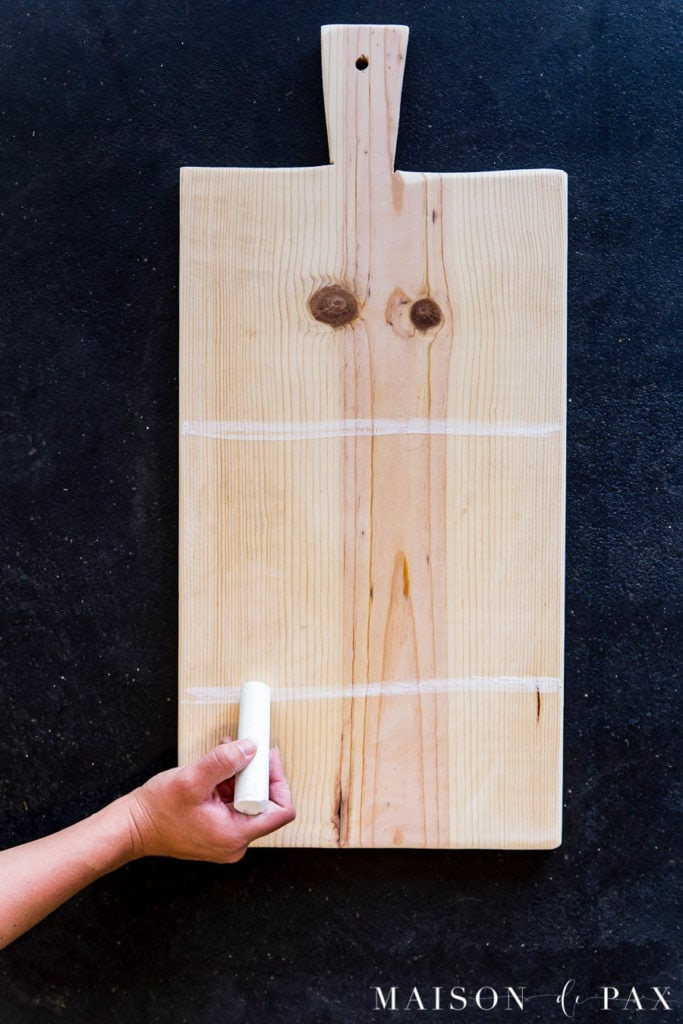 dividing wood cutting board into thirds to DIY an aged bread board look | Maison de pax