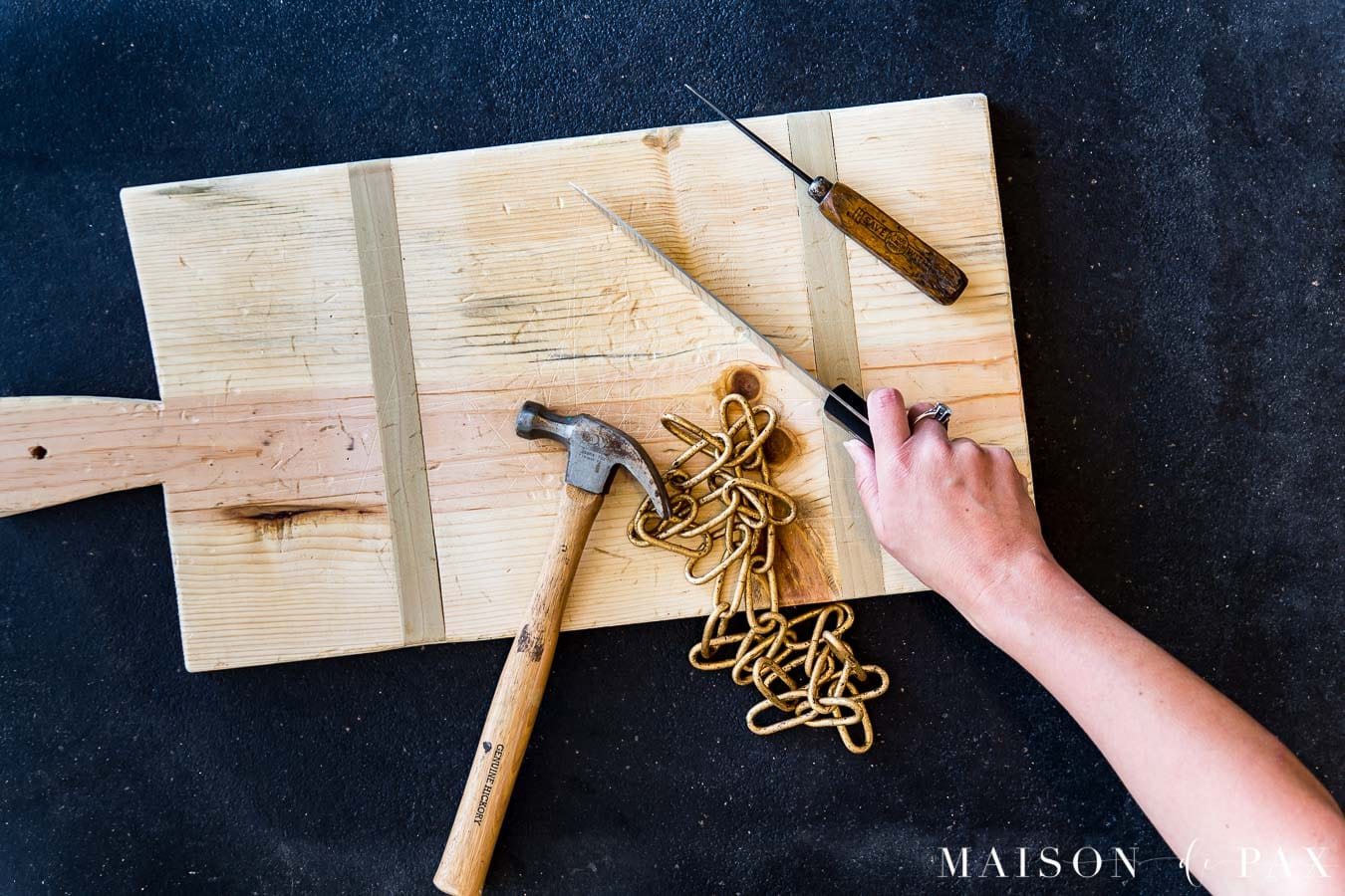 distressing wood serving board for authentic aged look | Maison de Pax