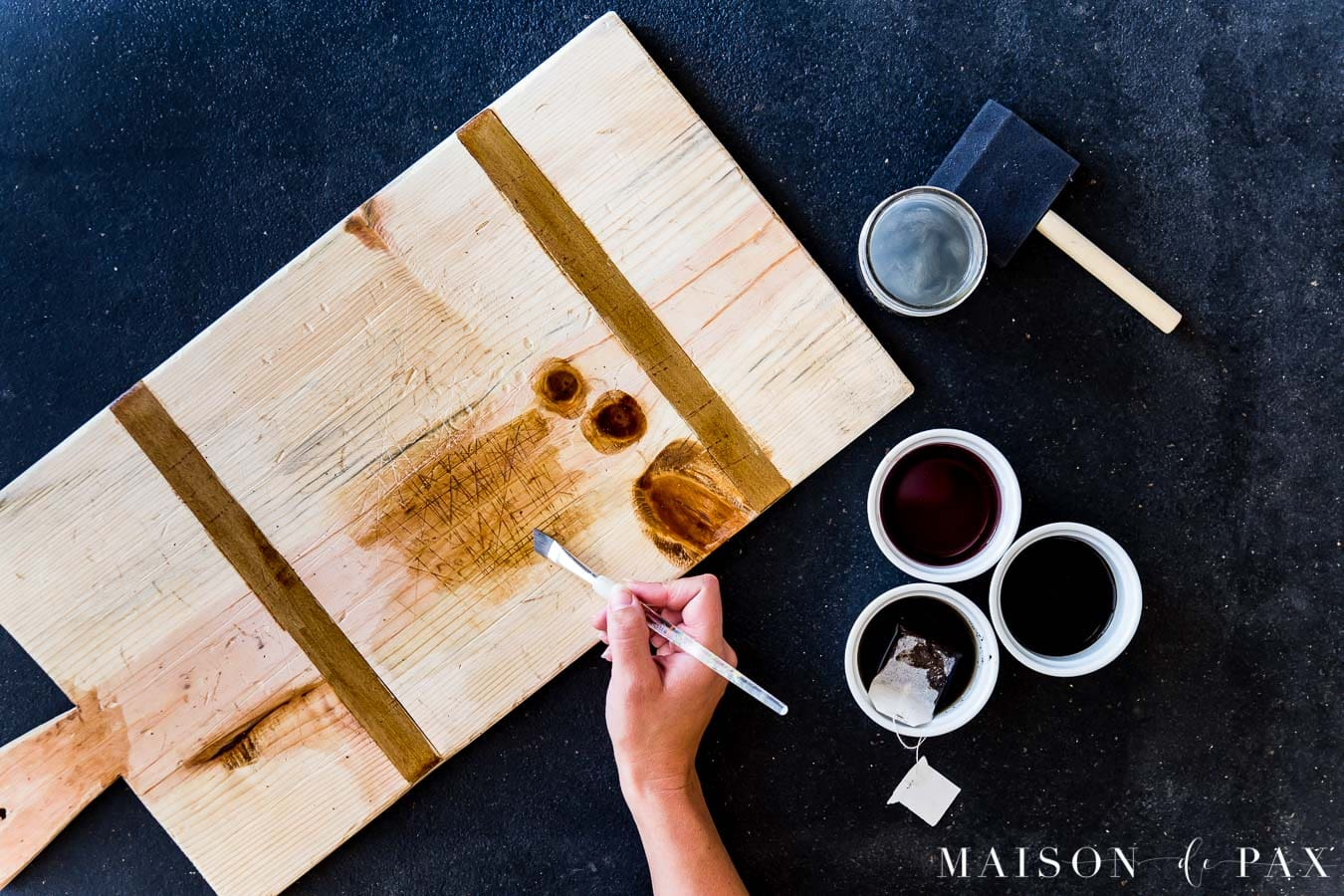 staining diy charcuterie board with natural stains | Maison de Pax