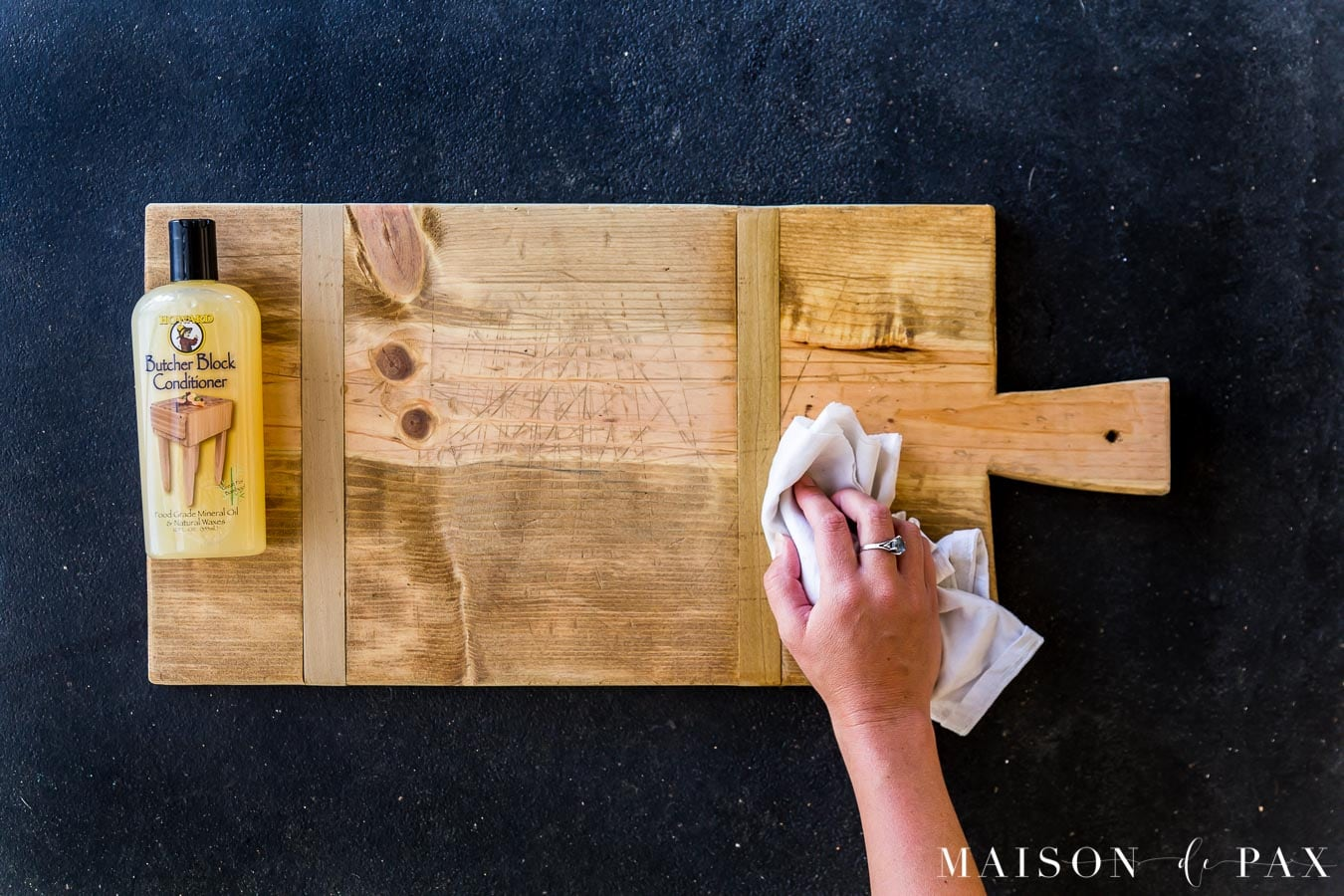 sealing wood serving charcuterie board with butcher block conditioner | Maison de Pax