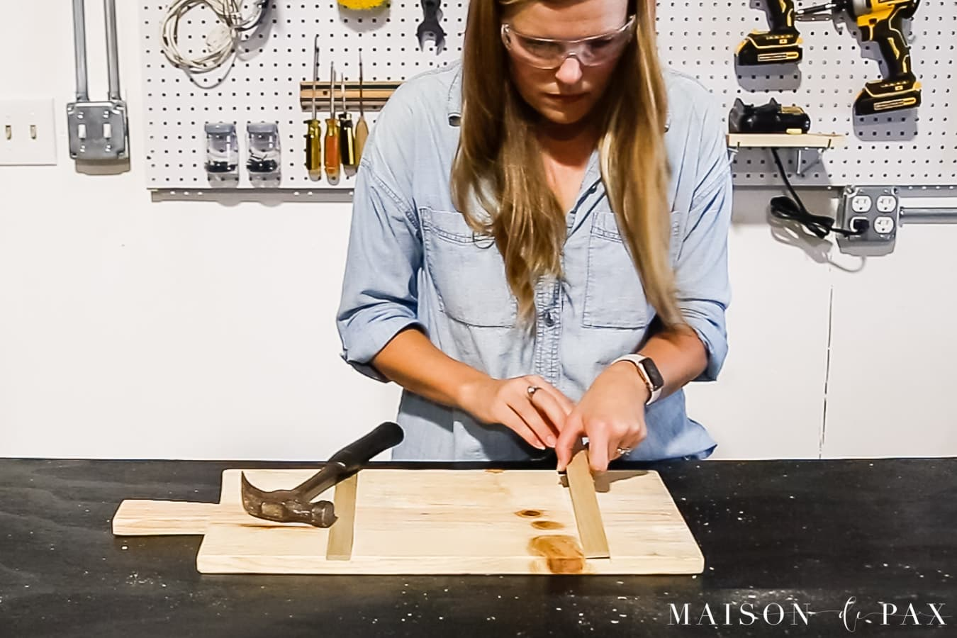installing cross grain pieces into wood serving board | Maison de Pax