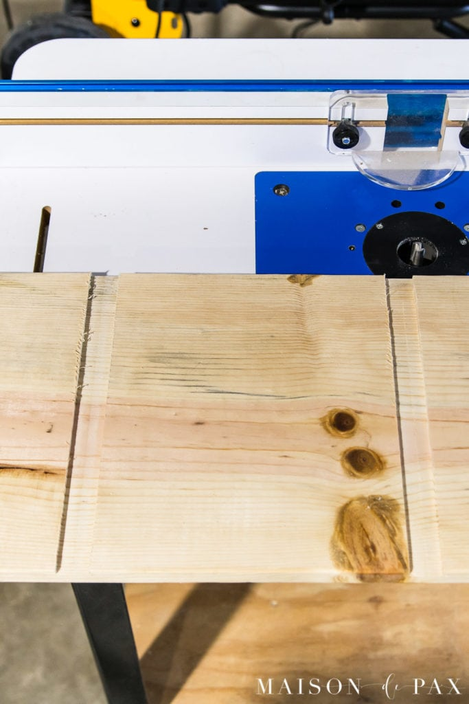 route grooves in serving board for a DIY antique french breadboard | Maison de Pax