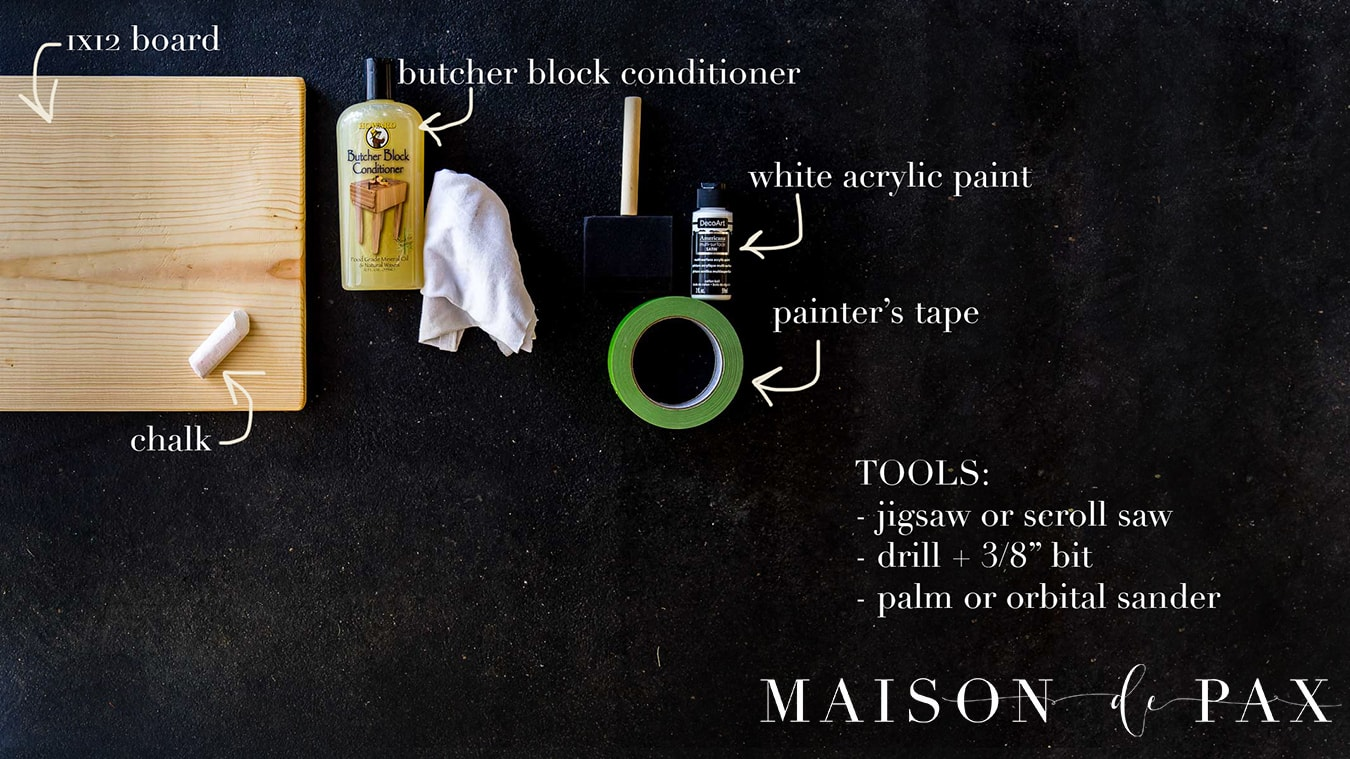supplies needed to build a diy charcuterie board for modern serving piece | Maison de Pax